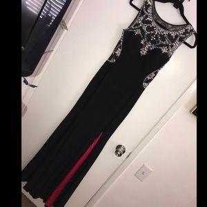 Black/ hot pink/ jewels & sequin prom dress